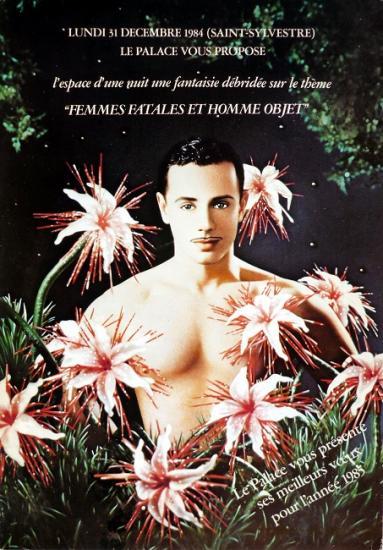 1984 cart soirée 'Femme fatales et homme objet' Le Palace, Paris