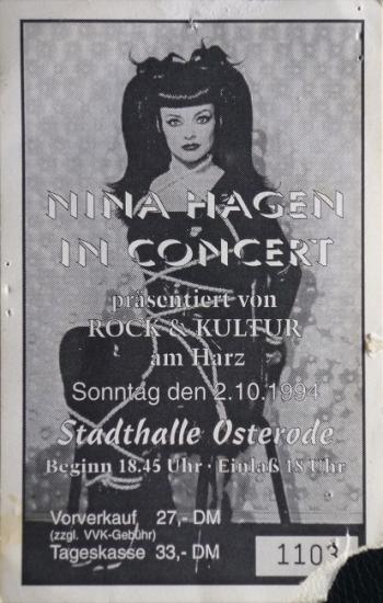 1994 billet concert de Nina Hagen (Osterode)