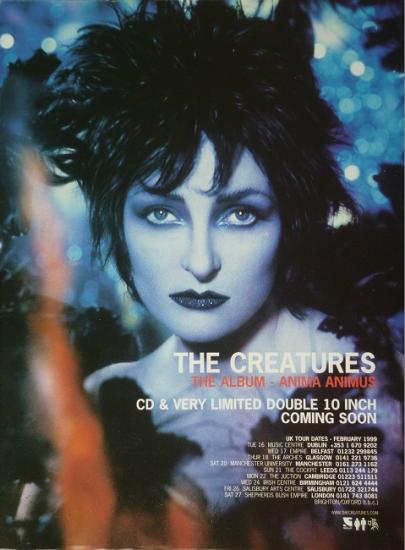 1999 publicité album et tournée de The Creatures