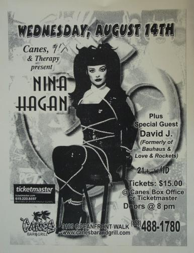 2000 affiche de concert de Nina Hagen, San Diego