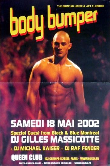 2002 aff soirée 'Body bumper' Queen Club, Paris