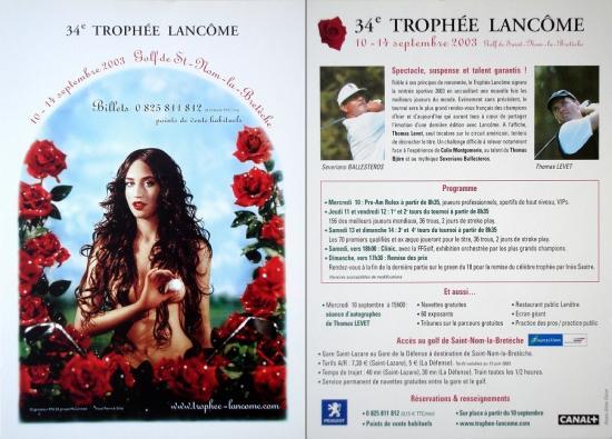 2003 carte promo 34° trophée Lancôme