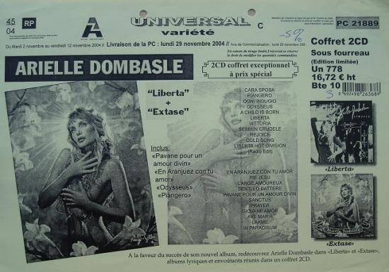 2004 fiche disquaire Arielle Dombasle