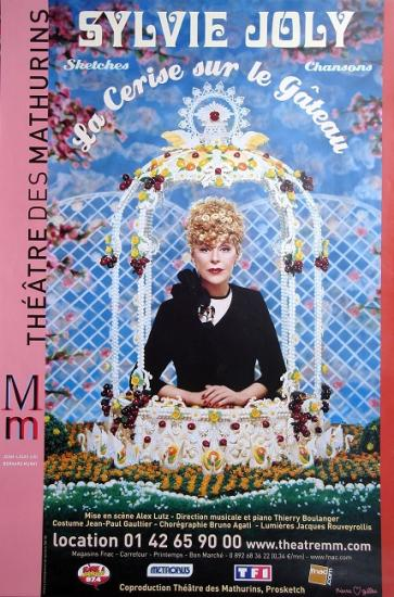 2005 affiche pour le spectacle de Sylvie Joly: La cerise sur le gateau