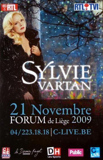 2009 flyer Sylvie Vartan, Liège