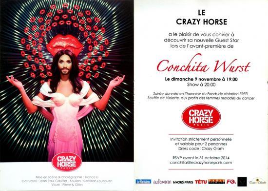 2014 cart 'Conchita Wurst au Crazy Horse, Paris