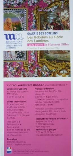2014 flyer expo 'Carte blanche à Pierre et Gilles'