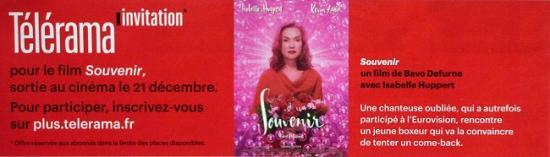 2016 pub Télérama invitation film 'Souvenir' Bavo Defurne